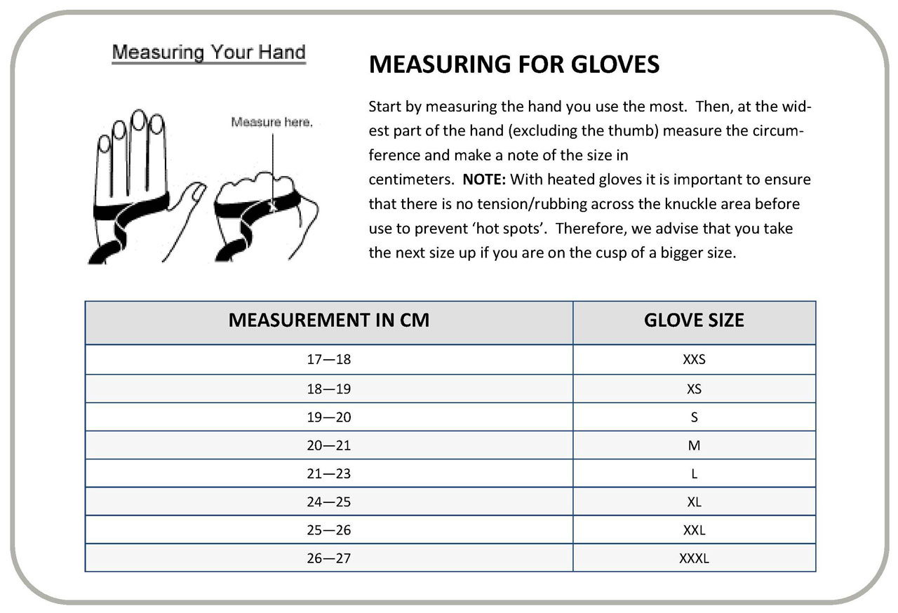 Gerbing Glove Sizes